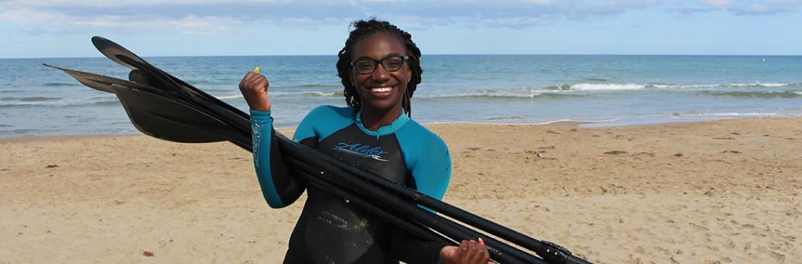 Estudiante playa